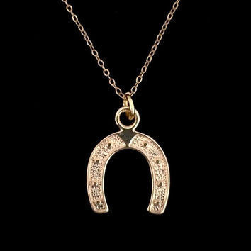 "14k Gold Filled Lucky Horseshoe Necklace  with 18"" chain by Tickle Bug Jewelry!"