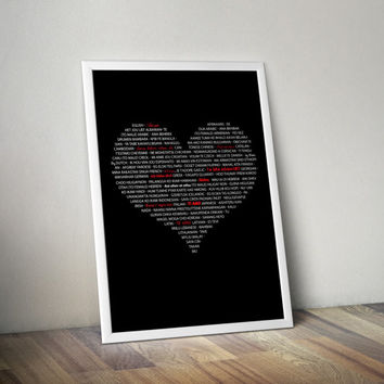 "Typographic Art ""I Love You"" Valentines Print, Wall Decor,  Love Print, Typography poster, Valentines Day, Scandinavian Art, 50x70 8x10"""