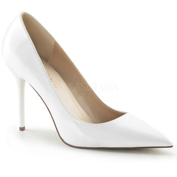 "Classique 20 White Patent Pointy Toe 4"" Stiletto Heel Pump 6 - 16 Queen"