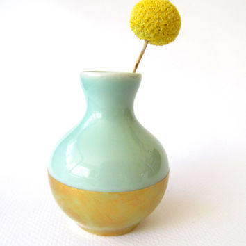 Bud Vase - Mint and Gold - Hand Painted Color Block