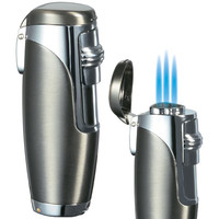 Visol Triad Satin Gunmetal Triple Torch Cigar Flame Lighter