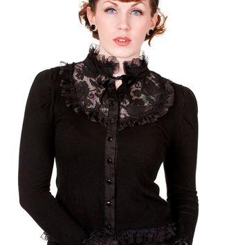 Victorian Gothic Steampunk High Choker Neck Black Rose Lace Knit Cardigan