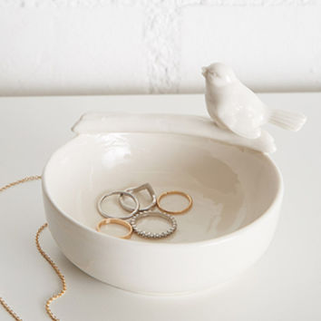Ceramic Bird Jewelry Dish