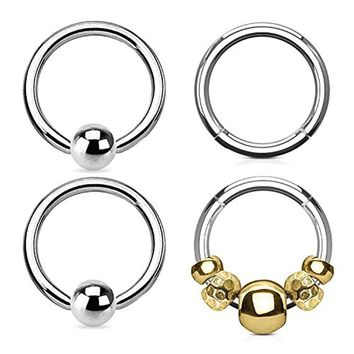 BodyJ4You 4PCS 16G Nose Hoop Seamless Hinged Segment Ring Goldtone Beads Surgical Steel Captive Bead