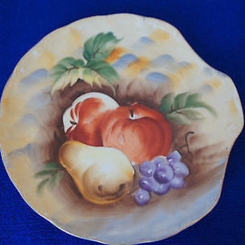 RARE Vintage LEFTON CHINA Hand Painted Snack Plate, FRUIT DESIGN