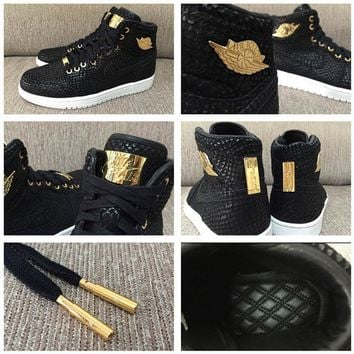 [FREE SHIPPING] AIR JORDAN 1 (BLACK / GOLD 24K PINNACLE) SNEAKER STYLE# 705075-030