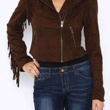 You are going to luv this awesome cowgirl style fringe cropped jacket! Featuring ultra soft faux suede, fringe on chest, sleeves and back, zipper closure at front, zipped side pockets, slightly cropped style, you and your fearless western spirit are going