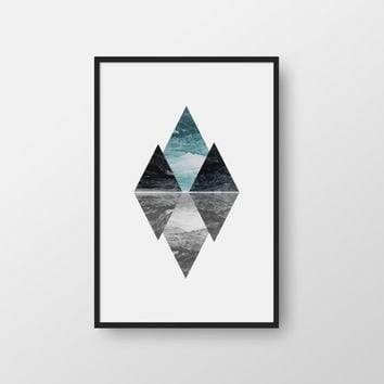 Printable Art, Triangles Print, Triangle Geometric Print, Geometric Art Wall Decor, Abstract Triangles, Minimalist Art, Modern Print