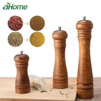 Wooden Manual Salt and Pepper Shakers Herb parsley mill grinder wood pepper Mill with Adjustable Ceramic Grinder Kitchen Gadget