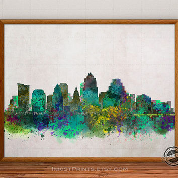 Austin Skyline Watercolor Poster, Texas Print, Cityscape, USA City Painting, States, Illustration Art Paint, Giclee Wall, Home Decor