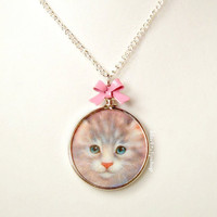 Kawaii Necklace Blue Eyed Kitten Pink Bow Fairy by blacktulipshop