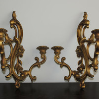 Vintage Double Candle Gold Wall Sconces - Candlestick holder, candelabra,  gold decor, ornate decor, French Provincial, Dart Industries