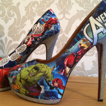 Marvel avengers Decoupage shoes heels