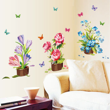 Hand-painted Potted Wall Sticker Flower Vinyl Stickers Wall Sticker For Kids Rooms Muurstickers Home Decor Bedroom Mural SM6