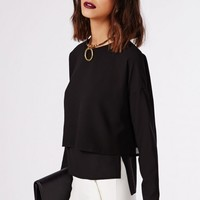 DAISY DOUBLE LAYER SHELL TOP BLACK