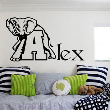 Wall Decal Vinyl Sticker Elephant Decals Home Decor  Murals Custom Personalized Name  Baby Boy Nursery Bedroom Dorm MM48