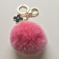 Hot Pink fur pom pom keychain frosted REX Rabbit fur pom pom ball with flower bag charm