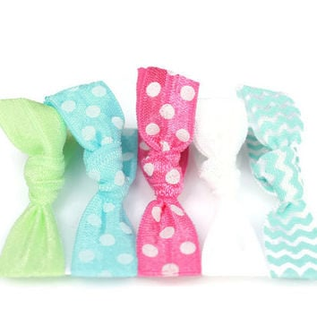 Preppy Pieces Hair Ties - Preppy Hair Ties in Green, Blue, Pink - Polka Dot, Chevron Accessories - Ponytail Holders - Girls Birthday Present