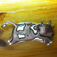Vintage Copper and Silver Tone Cow Brooch Pin, Cow Brooch Pin, Copper Cow Brooch Pin, Silver Cow Pin Brooch, Whimsical Gift, Birthday Gift