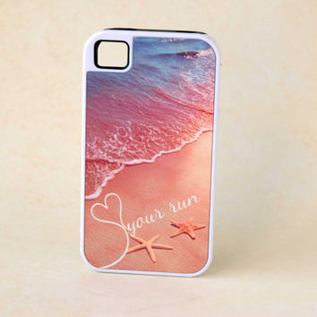 Personalized Phone Case for Runners - Monogram iPhone 5 Samsung S4 iPhone 5s - Inspirational Quote Love your Run Beach Phone Case Starfish
