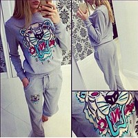 """KENZO"" Trending Women Stylish Tiger Head Pattern Long Sleeve Sweater Pants Trousers Set Two-Piece Grey"