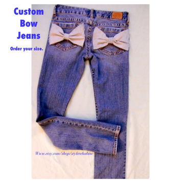Brooklyn Bow Jeans. Made for You. Custom Order. All sizes. Women and teens. Minimalist. Pants trendy tumblr hipster denim jean skinny