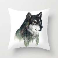 WOLF Throw Pillow by RIZA PEKER