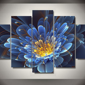 Blooming Blue Flower 5-Piece Wall Art Canvas