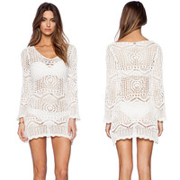 Long Sleeve Crochet Cover Up Dress