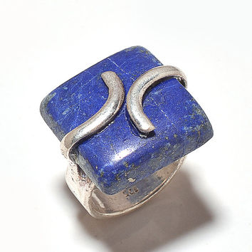 Designer Silver Plated Gemstone Rings Handmade Rings Druzy Stone Rings Lapis Ring Indian Stone Rings
