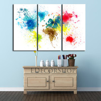 Watercolor World Map 3 Set Canvas Print + Ready to Hang + Colorful Abstract World Map