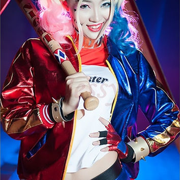 Sexy Women Jacket Suicide Squad Harley Quinn Cosplay Costume Female Clown Halloween Anime Long Sleeve Tops Coat [9222178244]