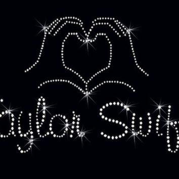 Taylor Swift HEART/HAND Rhinestone iron on by BlingTownSparkles