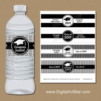 Personalized Black and White College Graduation Water Bottle Labels, Class of 2017 Water Bottle Stickers, Downloadable Graduation Labels G1