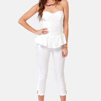 LULUS Exclusive This Girl is On Fire Strapless White Jumpsuit