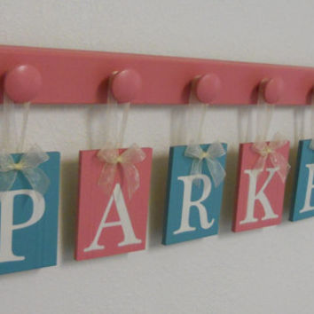 Teal - Pink Baby Nursery Decor, Customizable Name Blocks, Personalized for PARKER with 6 Plaques Painted Turquoise / Pink Baby Nursery Gift