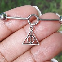 Deathly Hallows charm Industrial barbell, body jewelry, 14 gauge stainless steel