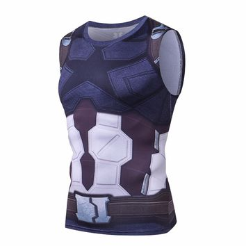 Sleeveless Avengers 3 Captain America 3D Printed T shirts Men Compression Shirts Summer Tops Male Infinite war Costume Clothing