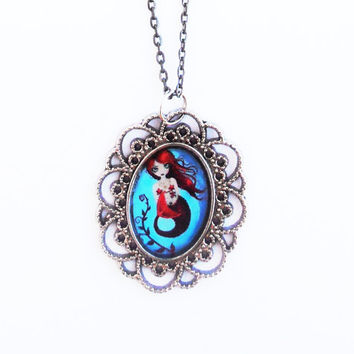 Big Eyes Mermaid Resin Necklace Illustration Silver Metal Baroque Cameo Pendant Handmade Jewelry