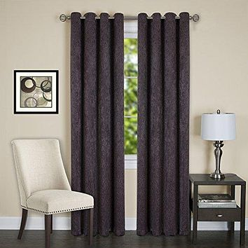Lorraine Set of 2 Room Darkening Energy Efficient Blackout Curtain Panels (52 inch  x 84 inch ) with 8 Grommets - Chocolate