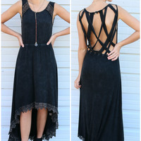 Deep Dark Night Black Stone Wash Open Back Hi-Low Dress