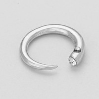 Rhinestone Accent Open Cuff Ring Silver