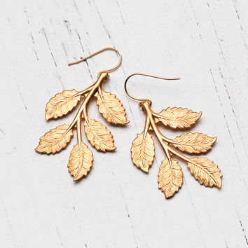 Gold Leaf Earrings Woodland Forest Rustic Wedding Romantic Whimsical Twig