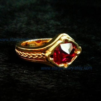 Steampunk ring Lotr Narya ring fire ring(the Ring of Fire or Red Ring) Gandalf ring large red stone ring---9K Gold version