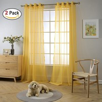 "Miuco 2 Panels Grommet Textured Solid Sheer Curtains 84 Inches Long for Living Room (2 x 54"" Wide x 84"" Long) Yellow"