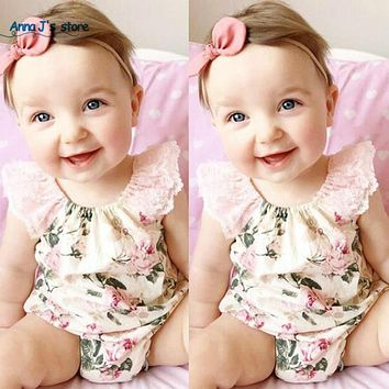 Floral Cotton Flower Vintage Girl Newborn Clothing Bodysuit Lace Female Beach Suit Girl Clothes