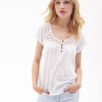 Crochet Slub Knit Top