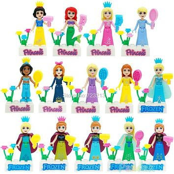 Single Sale Princess Girl Elf Doll White Snow Tinker Bell Fairy Tale Queen Anna Olaf Building Blocks Sets Models Toys