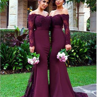 New Burgundy Cap Sleeve Appliques Lace  Elegant Mermaid Bridesmaid Dresses 2017 Long Sleeve Long Gowns For Wedding Party Guest