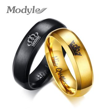 Modyle 2018 New Fashion His Queen and Her King Crown Ring Black and Gold Color Wedding Rings for Women Fashion Jewelry